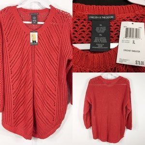 NWT Chelsea & Theodore XL Open Knit Sweater Top